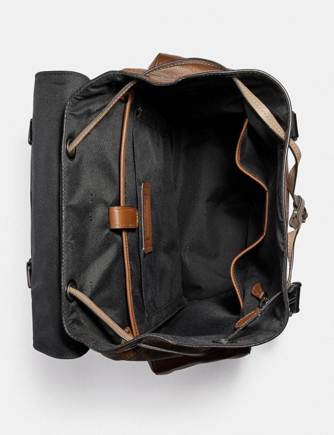 Coach Rivington Backpack in Signature Canvas With Coach Patch Black Copper/Khaki/Brown Multi Men Bags Backpacks Alternate View 3