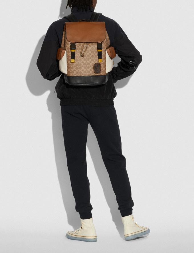 Coach Rivington Backpack in Signature Canvas With Coach Patch Black Copper/Khaki/Brown Multi Men Bags Signature Bags Alternate View 4