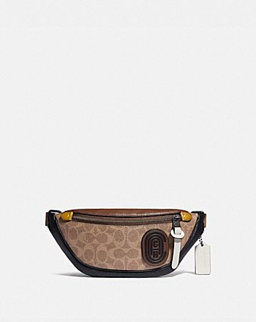 rivington belt bag 7 in signature canvas with coach patch