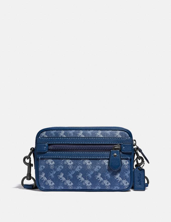 Coach Academy Crossbody With Horse and Carriage Print Black Copper/True Blue Men Bags Messenger Bags