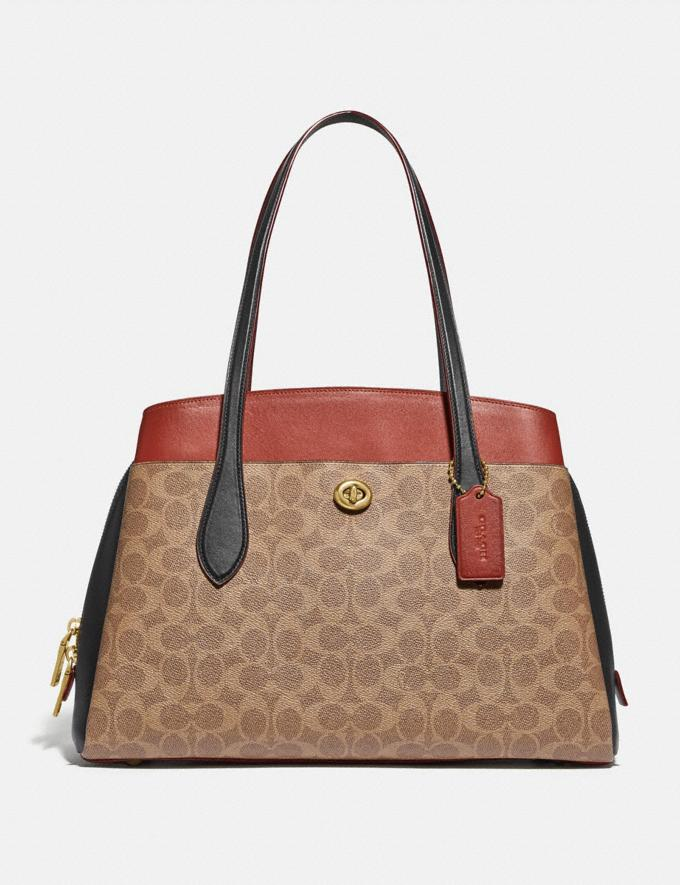 Coach Lora Carryall in Colorblock Signature Canvas Brass/Tan Rust Women Collection Signature