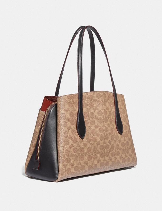 Coach Lora Carryall in Colorblock Signature Canvas Brass/Tan Rust Women Collection Lora Alternate View 1