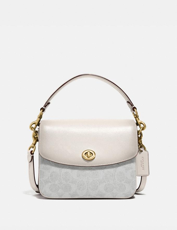 Coach Cassie Crossbody 19 in Signature Canvas Brass/Chalk Chalk Women Handbags Crossbody Bags