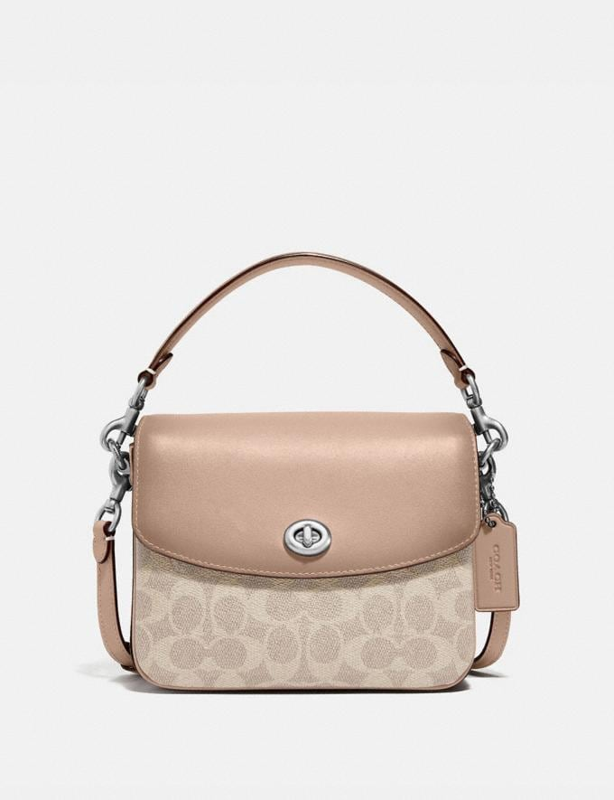 Coach Cassie Crossbody 19 in Signature Canvas Light Nickel/Sand Taupe New Featured Signature Styles