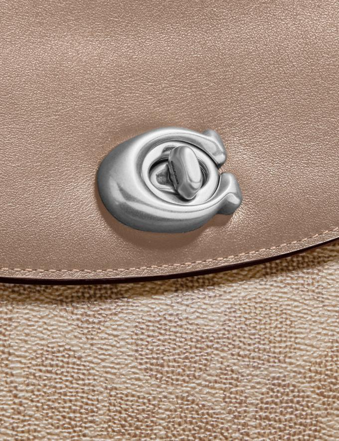 Coach Cassie Crossbody 19 in Signature Canvas Light Nickel/Sand Taupe Women Edits Weekend Alternate View 6