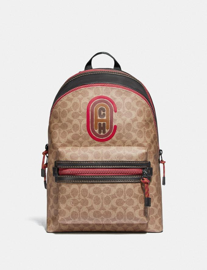 Coach Academy Backpack in Signature Canvas With Coach Patch Black Copper/Khaki New Men's New Arrivals Bags
