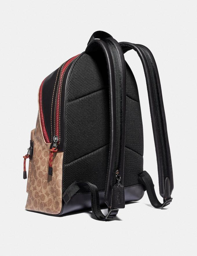 Coach Academy Backpack in Signature Canvas With Coach Patch Black Copper/Khaki Men Bags Signature Bags Alternate View 1