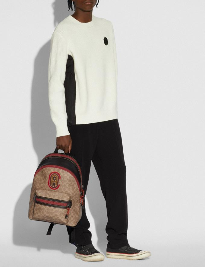 Coach Academy Backpack in Signature Canvas With Coach Patch Black Copper/Khaki Men Bags Signature Bags Alternate View 3