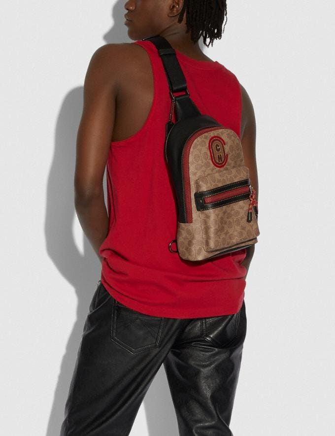 Coach Academy Pack in Signature Canvas With Coach Patch Black Copper/Khaki New Men's New Arrivals Bags Alternate View 2