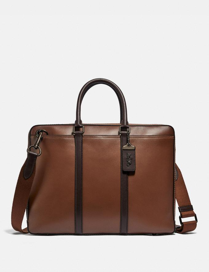 Coach Metropolitan Slim Brief Black Copper/Saddle/Oak PRIVATE SALE Men's Sale Bags