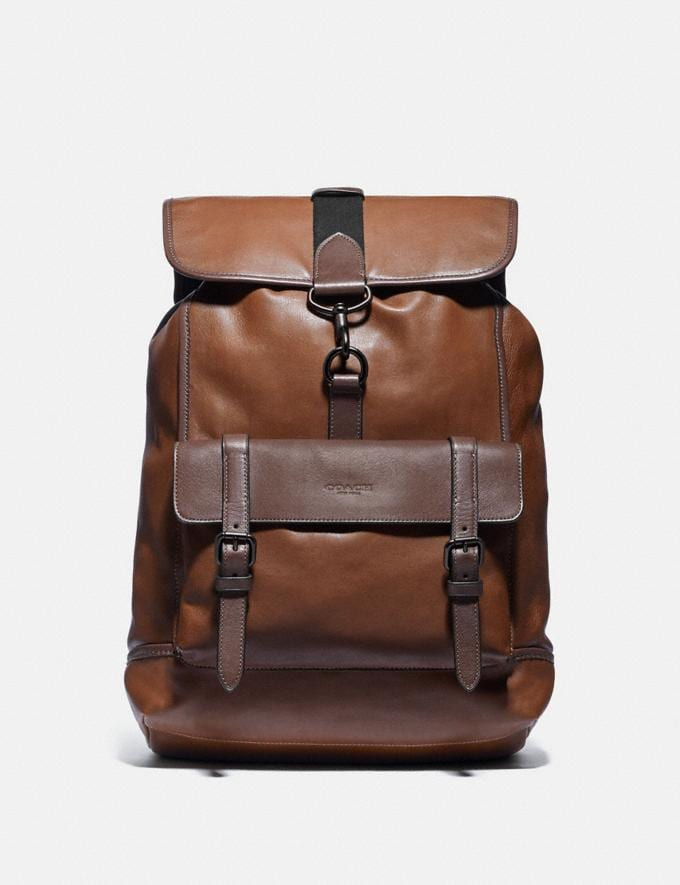 Coach Bleecker Backpack Black Copper/Saddle/Oak Men Bags