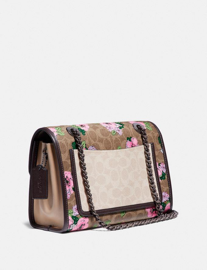 Coach Parker in Blocked Signature Canvas With Blossom Print V5/Tan Sand Print Women Bags Shoulder Bags Alternate View 1
