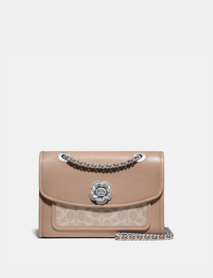 Coach Parker With Signature Canvas Light Nickel/Sand Taupe Gifts For Her Under $500