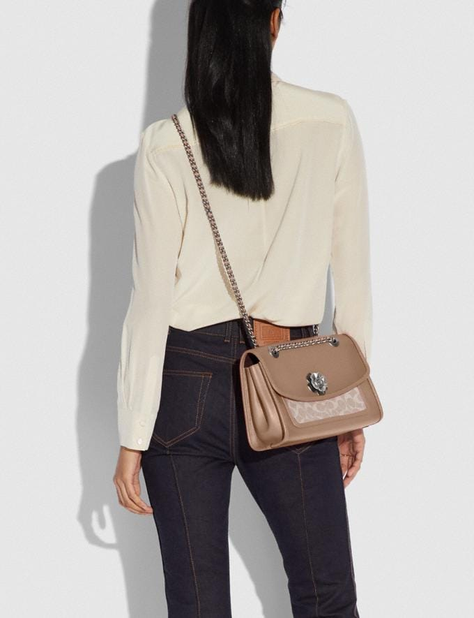 Coach Parker With Signature Canvas Light Nickel/Sand Taupe Gifts For Her Under $500 Alternate View 5