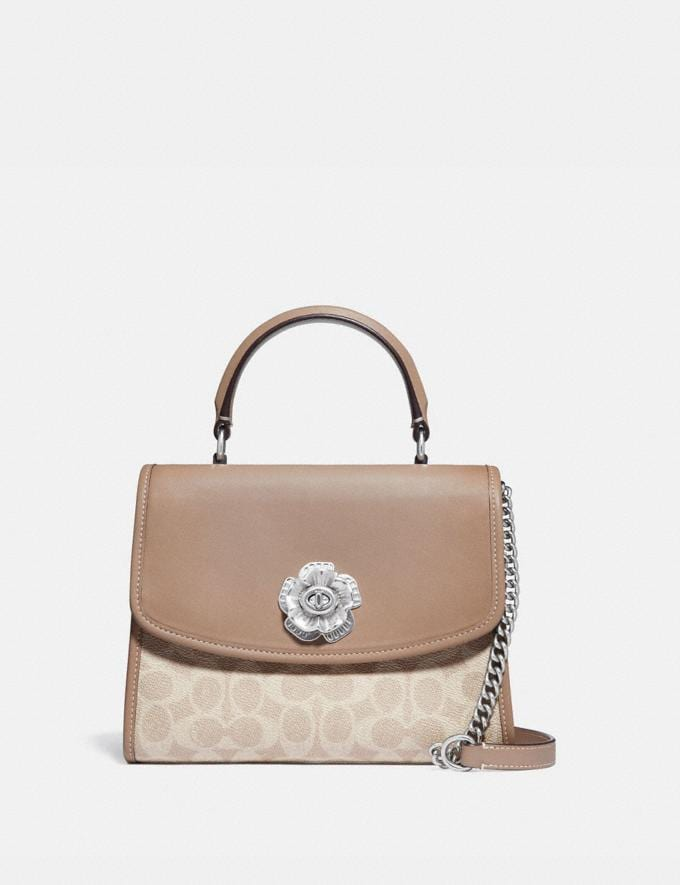 Coach Parker Top Handle in Signature Canvas Light Nickel/Sand Taupe New Women's New Arrivals