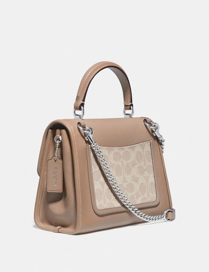 Coach Parker Top Handle in Signature Canvas Light Nickel/Sand Taupe New Women's New Arrivals Alternate View 1