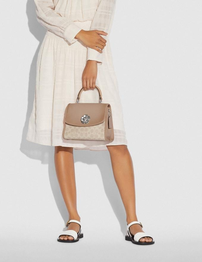 Coach Parker Top Handle in Signature Canvas Light Nickel/Sand Taupe Gifts For Her Under $500 Alternate View 6