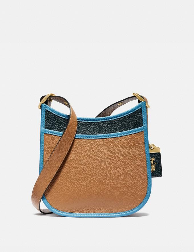 Coach Emery Crossbody 21 in Colorblock Brass/Light Saddle/Pine Green Women Handbags Crossbody Bags