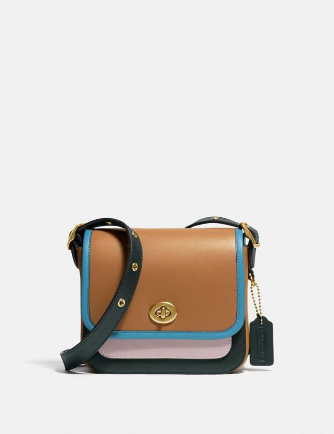 Coach Rambler Crossbody 16 in Colorblock Brass/Light Saddle/Pine Green Women Bags Crossbody Bags