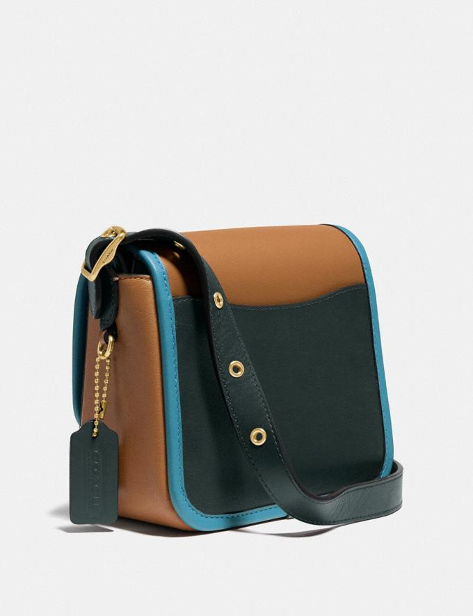 Coach Rambler Crossbody 16 in Colorblock Brass/Light Saddle/Pine Green Women Bags Crossbody Bags Alternate View 1