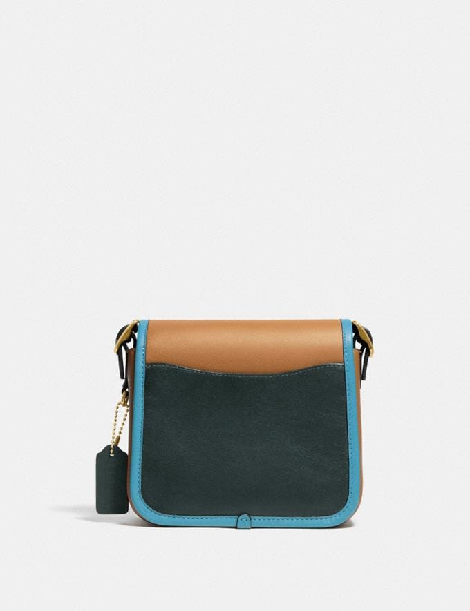 Coach Rambler Crossbody 16 in Colorblock Brass/Light Saddle/Pine Green Women Bags Crossbody Bags Alternate View 2
