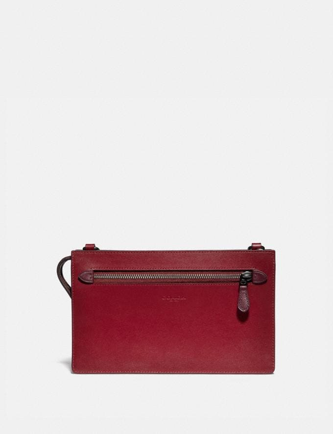 Coach Rivington Convertible Pouch in Colorblock Wine/Dark Cardinal Women Small Leather Goods Wristlets