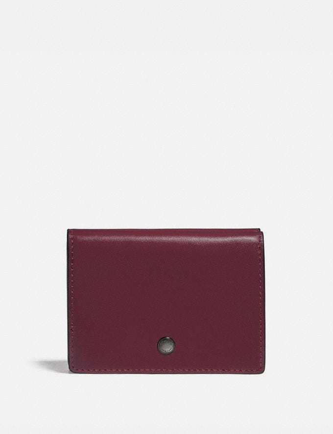 Coach Origami Coin Wallet in Colorblock Dark Cardinal/Wine Men Wallets Billfolds