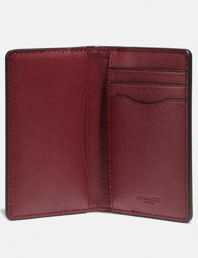 Coach Card Wallet in Colorblock Wine/Dark Cardinal Men Wallets Card Cases Alternate View 1