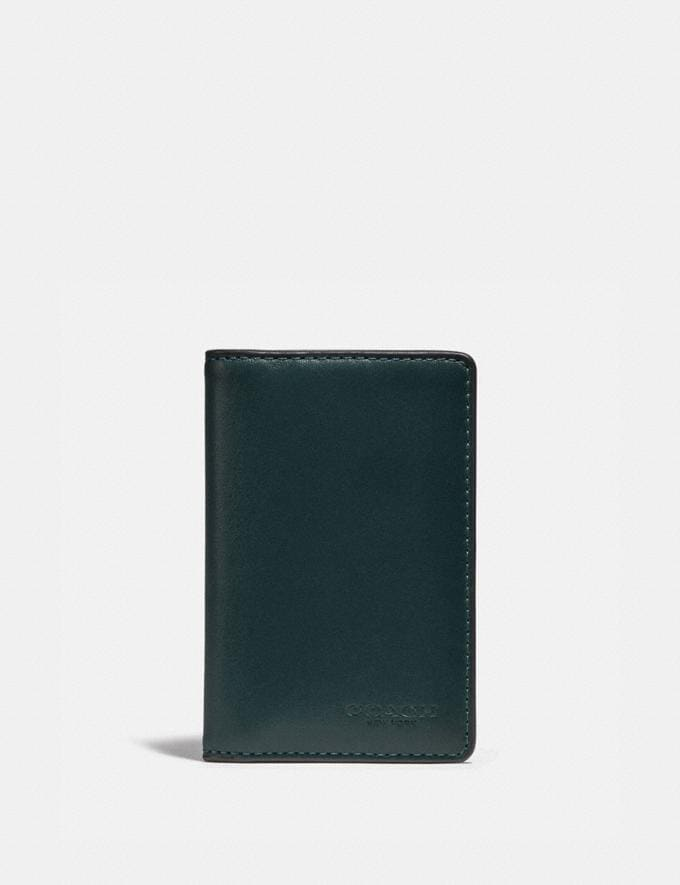 Coach Card Wallet in Colorblock Pine Green/Leaf New Men's New Arrivals Wallets