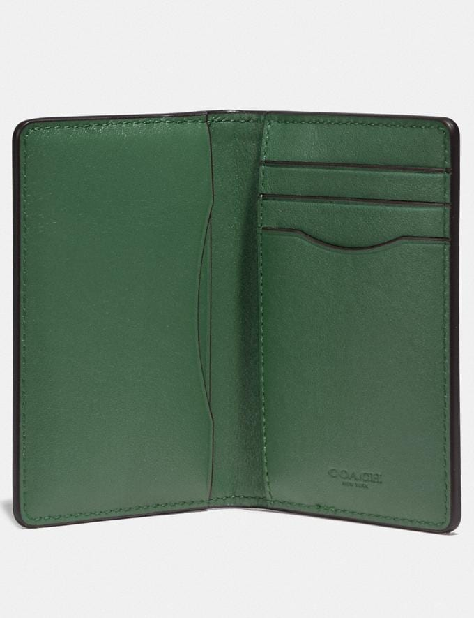 Coach Card Wallet in Colorblock Pine Green/Leaf New Men's New Arrivals Wallets Alternate View 1