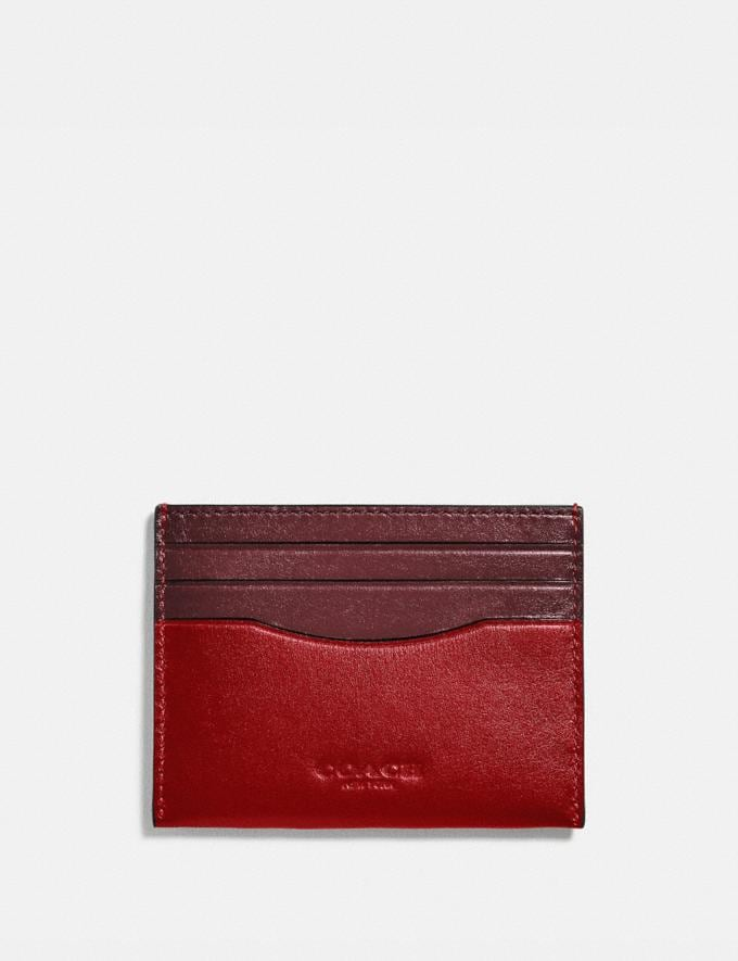 Coach Card Case in Colorblock Wine/Dark Cardinal Men Wallets Card Cases