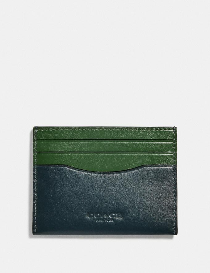 Coach Card Case in Colorblock Pine Green/Leaf Men Wallets Card Cases
