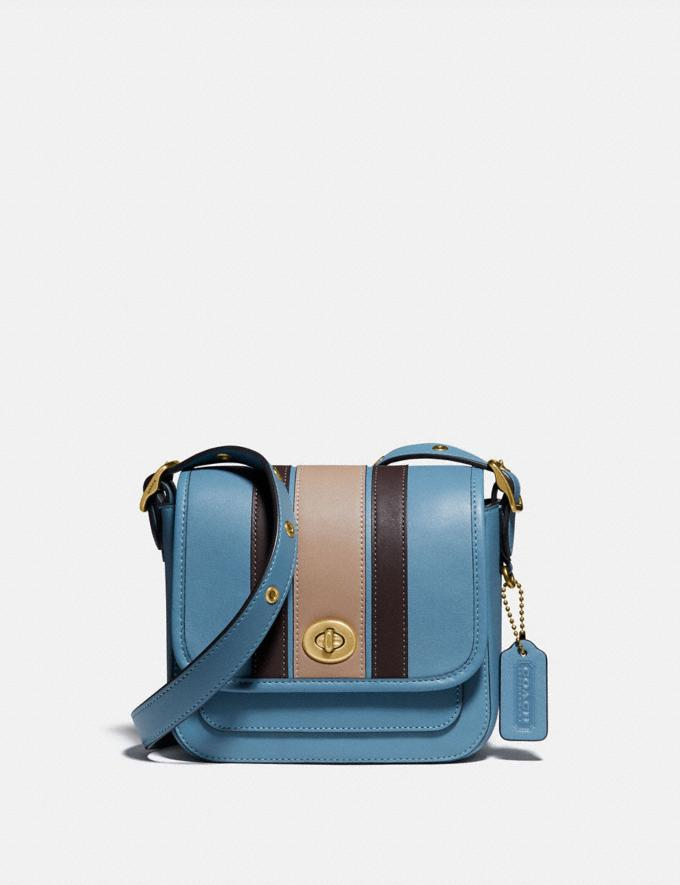 Coach Rambler Crossbody 16 With Varsity Stripe Brass/Pacific Blue Multi Gifts For Her Under $500