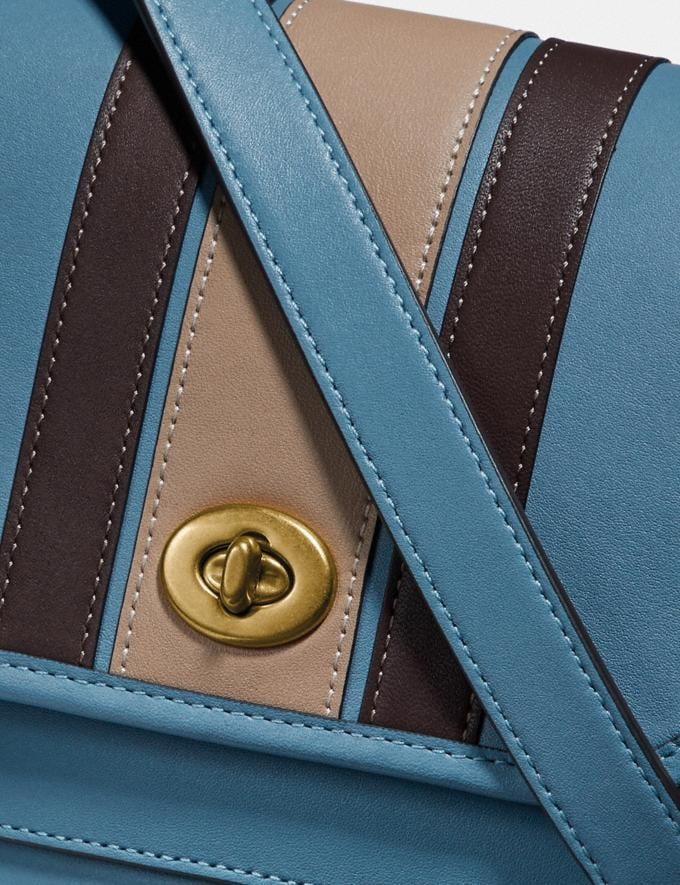 Coach Rambler Crossbody 16 With Varsity Stripe Brass/Pacific Blue Multi Gifts For Her Under $500 Alternate View 5