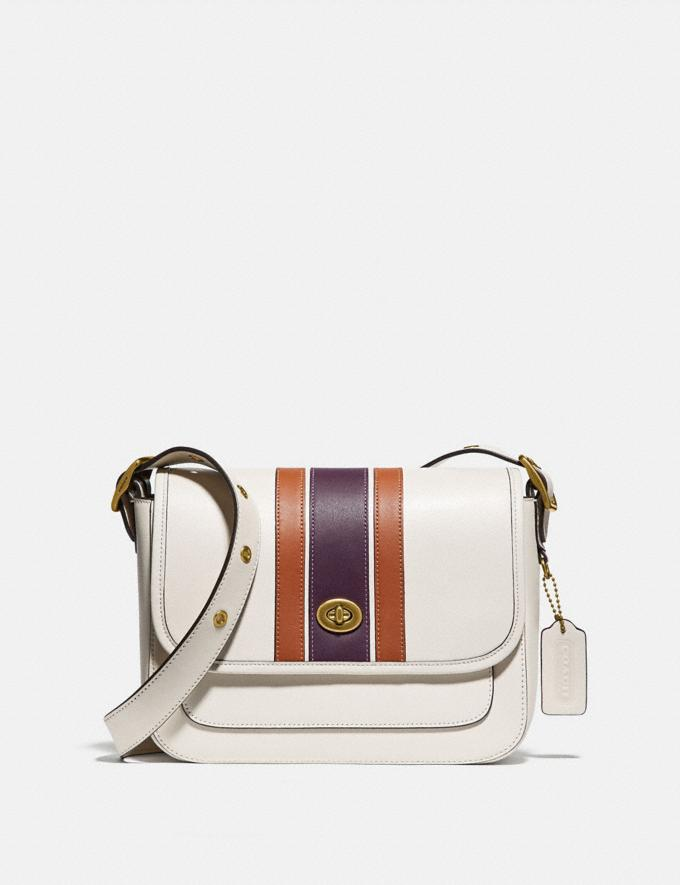 Coach Rambler Crossbody With Varsity Stripe Brass/Chalk Multi Women Handbags Crossbody Bags