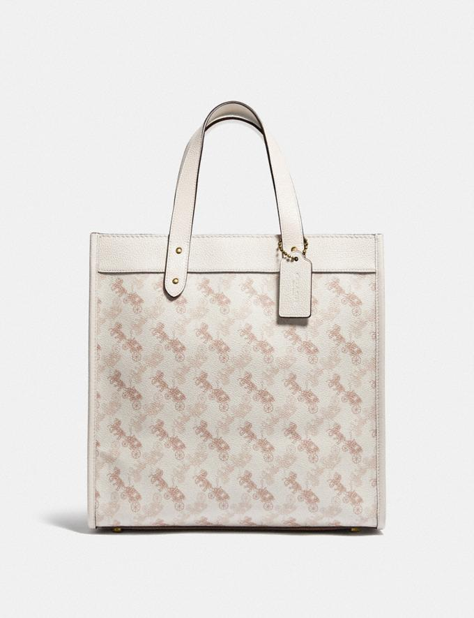 Coach Field Tote With Horse and Carriage Print B4/Chalk Taupe Women Bags Totes