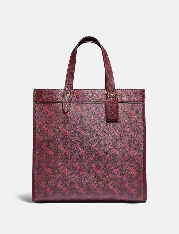 Coach Field Tote With Horse and Carriage Print B4/Oxblood Cranberry New Featured Lunar New Year