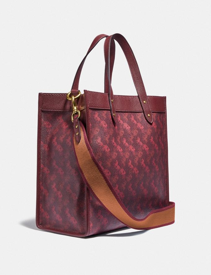 Coach Field Tote With Horse and Carriage Print B4/Oxblood Cranberry New Featured Lunar New Year Alternate View 1