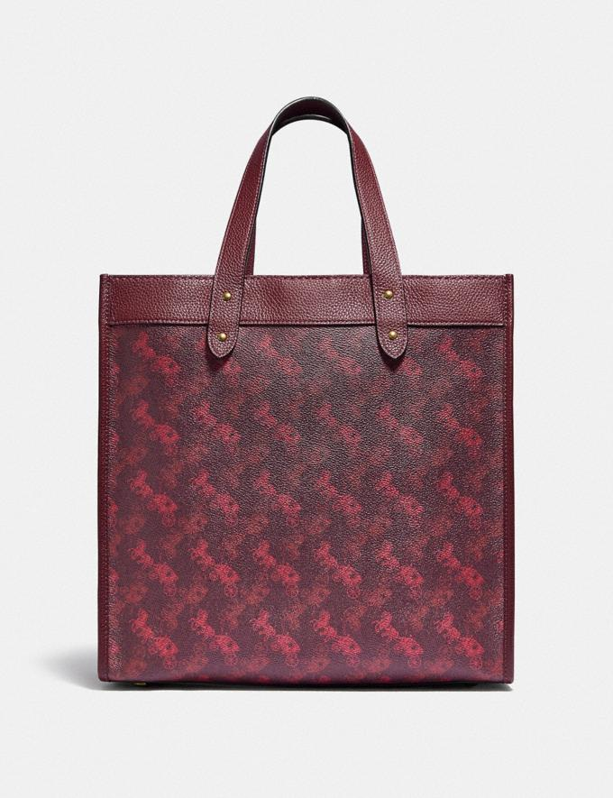 Coach Field Tote With Horse and Carriage Print B4/Oxblood Cranberry New Featured Lunar New Year Alternate View 2
