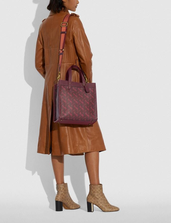 Coach Field Tote With Horse and Carriage Print B4/Oxblood Cranberry New Featured Lunar New Year Alternate View 4