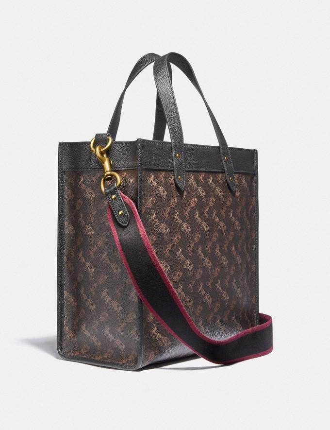 Coach Field Tote With Horse and Carriage Print B4/Truffle Black Women Bags Totes Alternate View 1