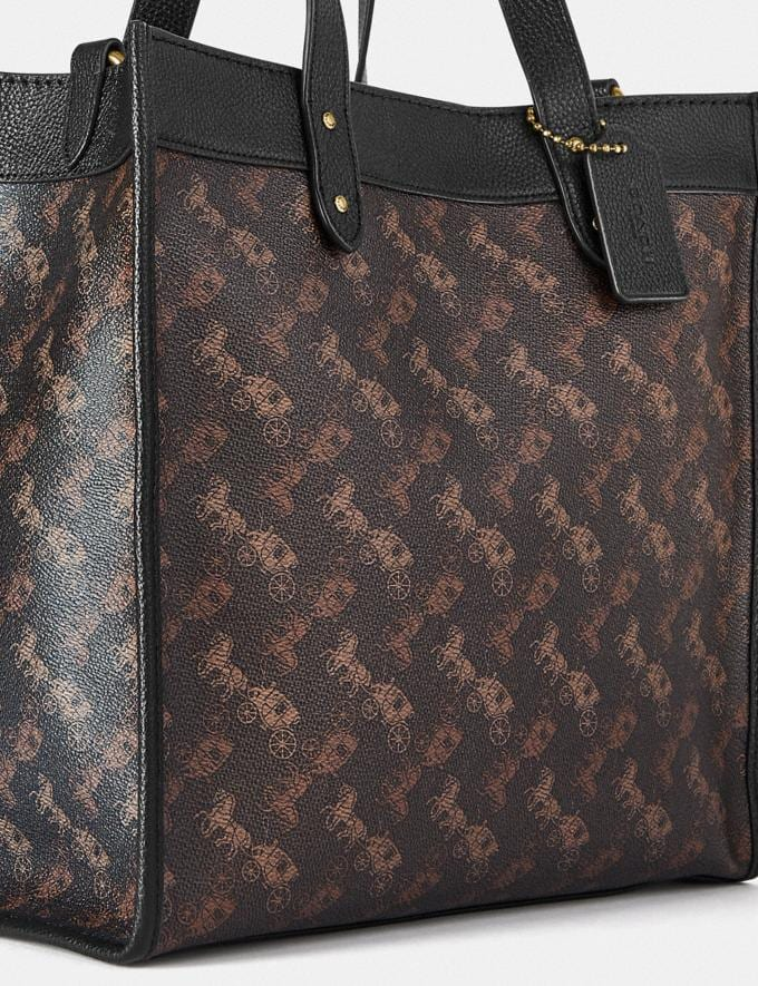 Coach Field Tote With Horse and Carriage Print B4/Truffle Black Women Bags Totes Alternate View 6
