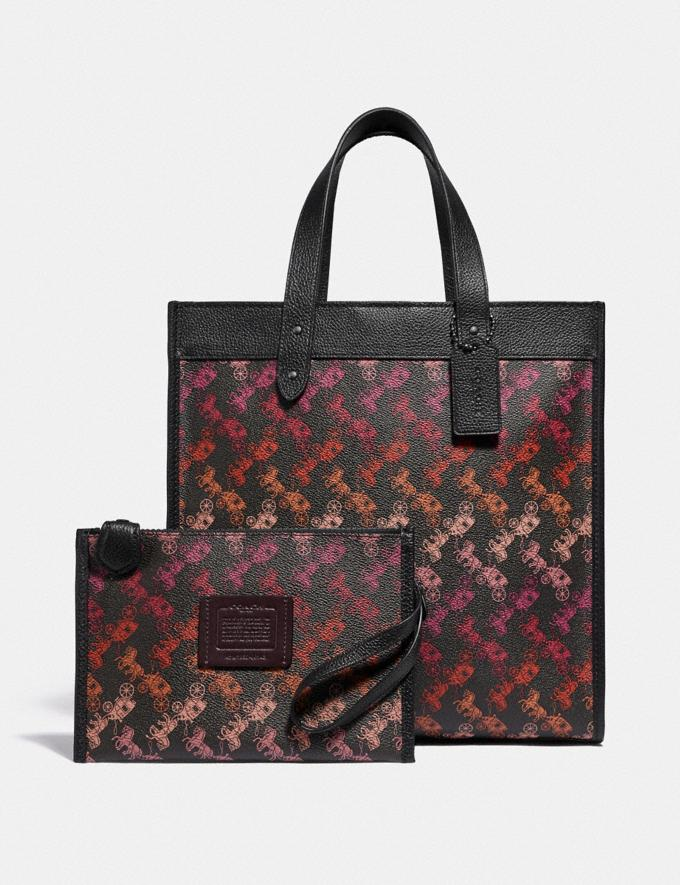 Coach Field Tote With Horse and Carriage Print Pewter/Multi Black Women Bags Totes Alternate View 4