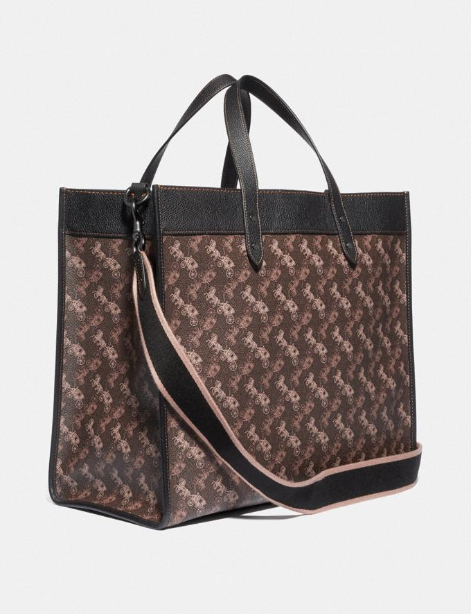 Coach Field Tote 40 With Horse and Carriage Print Pewter/Brown Black Women Bags Totes Alternate View 1