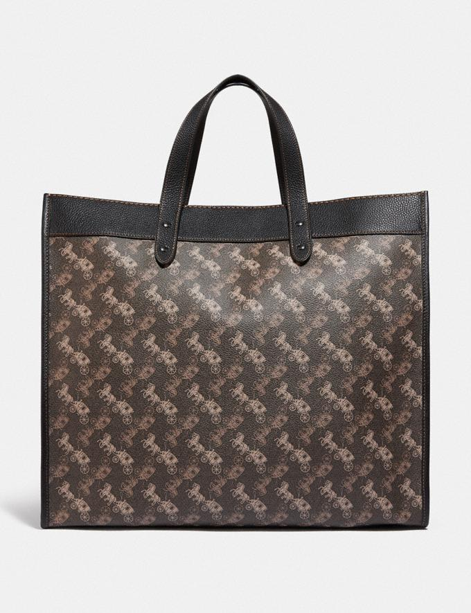Coach Field Tote 40 With Horse and Carriage Print Pewter/Brown Black Women Bags Totes Alternate View 2