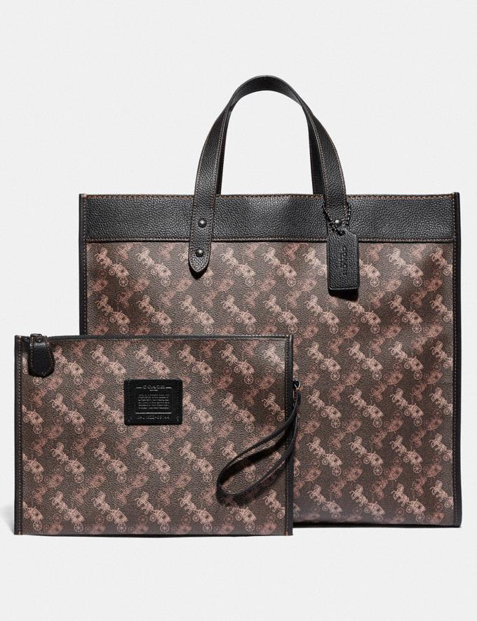 Coach Field Tote 40 With Horse and Carriage Print Pewter/Brown Black Women Bags Totes Alternate View 5