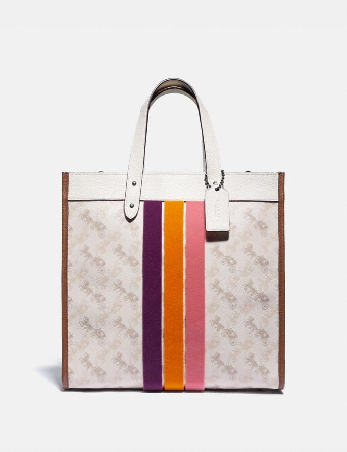 Coach Field Tote With Horse and Carriage Print and Varsity Stripe Pewter/Chalk Dark Saddle Women Bags Totes