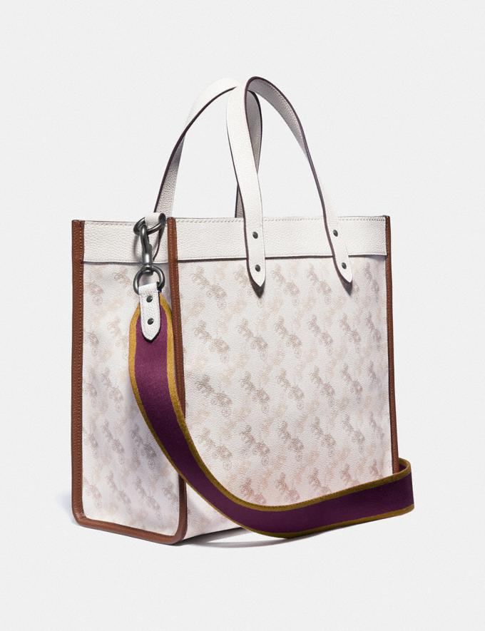 Coach Field Tote With Horse and Carriage Print and Varsity Stripe Pewter/Chalk Dark Saddle Women Bags Totes Alternate View 1