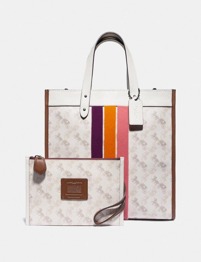 Coach Field Tote With Horse and Carriage Print and Varsity Stripe Pewter/Chalk Dark Saddle Women Bags Totes Alternate View 4
