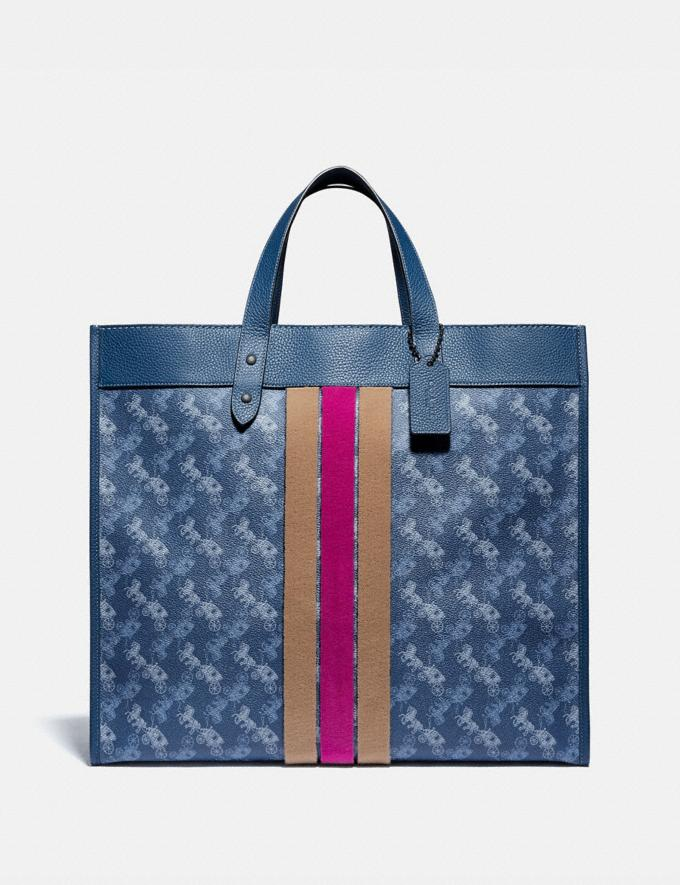 Coach Field Tote 40 With Horse and Carriage Print and Varsity Stripe Pewter/True Blue Women Bags Totes